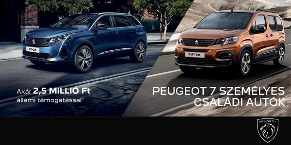 Peugeot 7 szemelyes csaladi autok