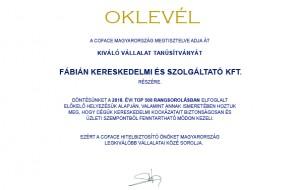 Kiváló vállalat tanúsítvány a Fábián Kft. részére